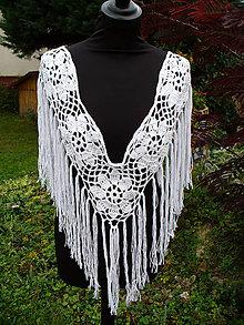 Iné oblečenie - Biela ruža, dekoratívne polopončo - 11078912_