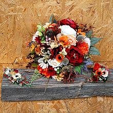 Kytice pre nevestu - Svadobná kytica pre nevestu veľká jesenná v boho štýle - 11080271_