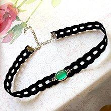 Náhrdelníky - Green Agate Simple Choker / Náhrdelník - choker so zeleným achátom - 11082189_