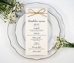 Papiernictvo - Prírodné svadobné menu so špagátikom - 11082253_