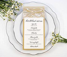 Papiernictvo - Prírodné svadobné menu s čipkou - 11082411_