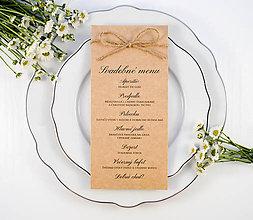 Papiernictvo - Prírodné svadobné menu so špagátikom hnedé - 11082510_