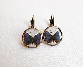 Náušnice - Živicové náušnice - Modrý motýľ (starobronz) - 11081127_