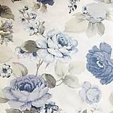 Textil - modré ruže, 100 % bavlna, šírka 140 cm - 11080284_