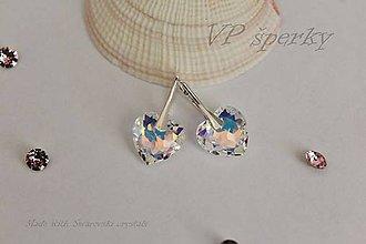Náušnice - Strieborné náušnice so Swarovski crystals - srdcia - 11080553_
