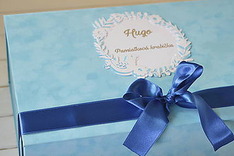 Krabičky - Pamiatková krabička (40 x 25 x 15 cm - Tyrkysová) - 11079917_