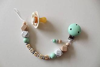 Detské doplnky - Retiazka na cumlík s menom mintovo-mramorová - 11080753_