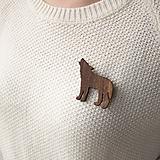 Odznaky/Brošne - Drevená brošňa vlk - 11081570_