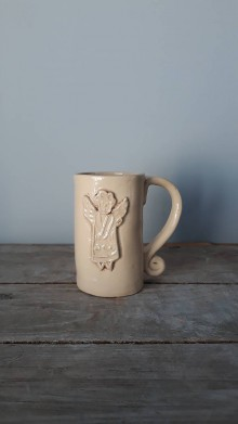 Nádoby - anjelikový hrnček v krémovej - 11081212_