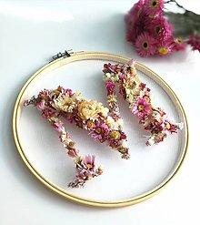 Dekorácie - Obraz vyšívaný kvetmi ružový - 11081227_