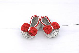 Topánočky - Šedo-červené baleríny EXTRA FINE - 11080514_