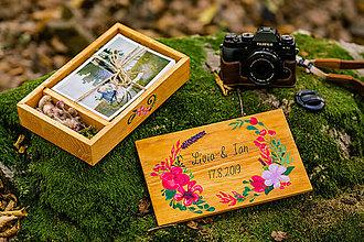 Krabičky - Svadobná drevená krabička na fotky s USB, VENČEK - 11081607_