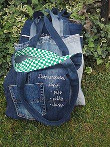 Nákupné tašky - Nákupné rifľové tašky s textom - 11079112_