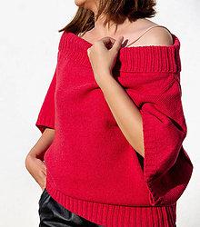Svetre/Pulóvre - Dámsky sveter v červenej farbe - 100% kašmír - 11081456_