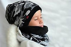 Detské súpravy - Zimný set  maskáč/sivočierna obojstranná - 11079594_