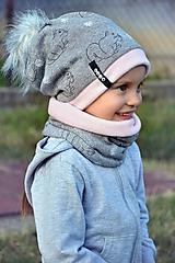 Detské súpravy - Zimný set Obojstranný s Odopínacím brmbolcom veveričky gray & pink - 11082937_