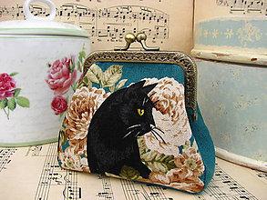 Taštičky - Minitaštička - Černá kočka v růžích - 11080187_