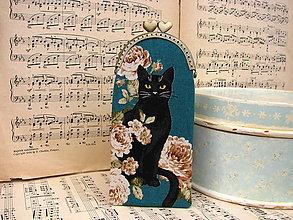 Taštičky - Víceúčelová kapsička - Černá kočka v růžích - 11080205_