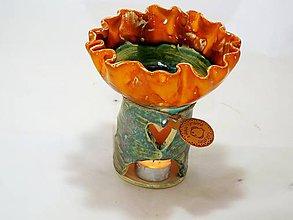 Svietidlá a sviečky - Aromalampa kvetová (Oranžová) - 11080199_