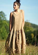 Šaty - Maxi lněné oříškově hnědé - 11081247_