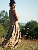 Šaty - Maxi lněné oříškově hnědé - 11081248_