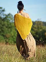 Šaty - Maxi lněné oříškově hnědé - 11081249_