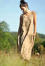 Šaty - Maxi lněné oříškově hnědé - 11081253_