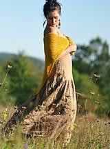 Šaty - Maxi lněné oříškově hnědé - 11081256_