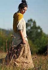 Šaty - Maxi lněné oříškově hnědé - 11081258_