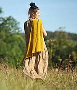 Šaty - Maxi lněné oříškově hnědé - 11081259_