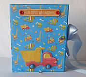 Papiernictvo -  Vo výstavbe - jedinečný, ručne vyrábaný album pre chlapcov, denník, chlapec, modrý, autá - 11084057_