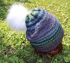 Čiapky - Prírodná čiapka s kožušinovým brmbolcom - 11083383_