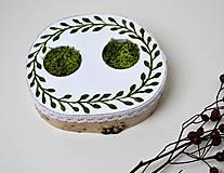 Prstene - Vankúšik pod obrúčky-drevený s machom - 11083592_