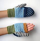 Rukavice - Odklápacie rukavice vlnené pestré - 11085348_