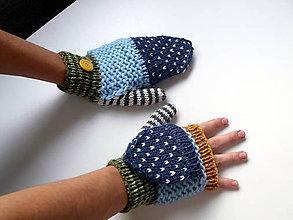 Rukavice - Odklápacie rukavice vlnené pestré - 11085350_