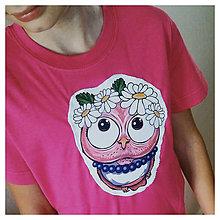 Detské oblečenie - Detské bavlnené tričko - OčiPuči sovička Margarétka v ružovom - 11085431_