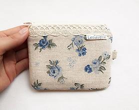 Peňaženky - Peňaženka/dokladovka - Modré ruže a krajka - 11085637_