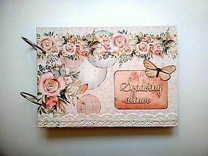 Papiernictvo - Vintage svadobný Fotoalbum * kniha hostí * album A5 - 11084137_