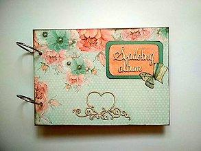 Papiernictvo - Vintage svadobný Fotoalbum * kniha hostí * album A5 - 11084155_