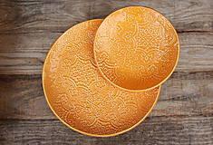 Nádoby - Plytký tanier - šafránová kolekcia - 11086105_