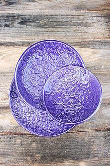 Nádoby - Set 3 tanierov - plytký, hlboký a dezertný - levanduľová kolekcia - 11086230_