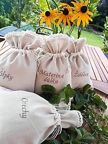 Úžitkový textil - Ľanové vrecúška na bylinky, huby, ovocie.... (22 x 16 cm - Béžová) - 11084688_