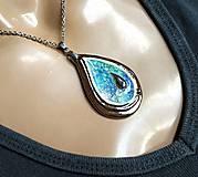 Náhrdelníky - Keramický šperk  zo sklom - Kvapka - 11085966_