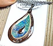 Náhrdelníky - Keramický šperk  zo sklom - Kvapka - 11085971_