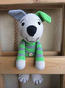 Hračky - psíček v pruhovanom tričku - 11085540_