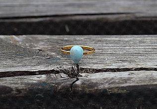 Prstene - Pozlátený prsteň zo striebra Larimar - 11083822_