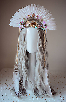 Ozdoby do vlasov - Biela mušličková koruna z kolekcie 𝕾𝖍𝖆𝖒𝖆𝖓 𝕳𝖆𝖑𝖑𝖔𝖜𝖊𝖊𝖓 - 11084721_