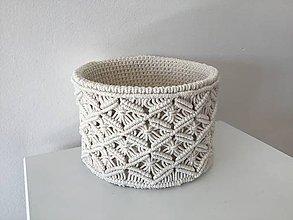 Košíky - Makramé/háčkovaný košík prírodný - 11084170_