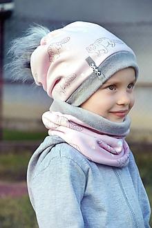 Detské súpravy - Zimný set Obojstranný s Odopínacím brmbolcom Mýval pink & gray - 11083243_