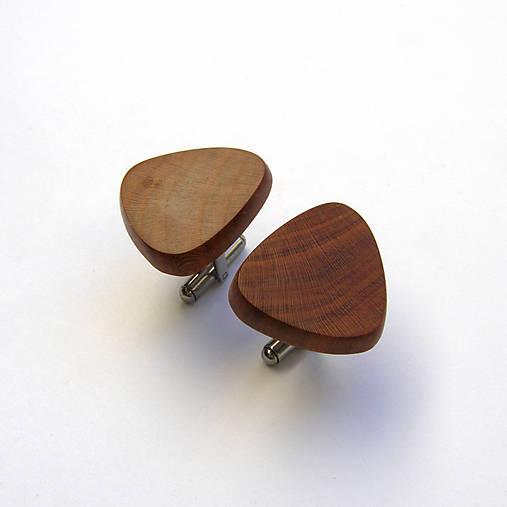 Drevené manžetové gombíky - slivkové kúsky (nerez)